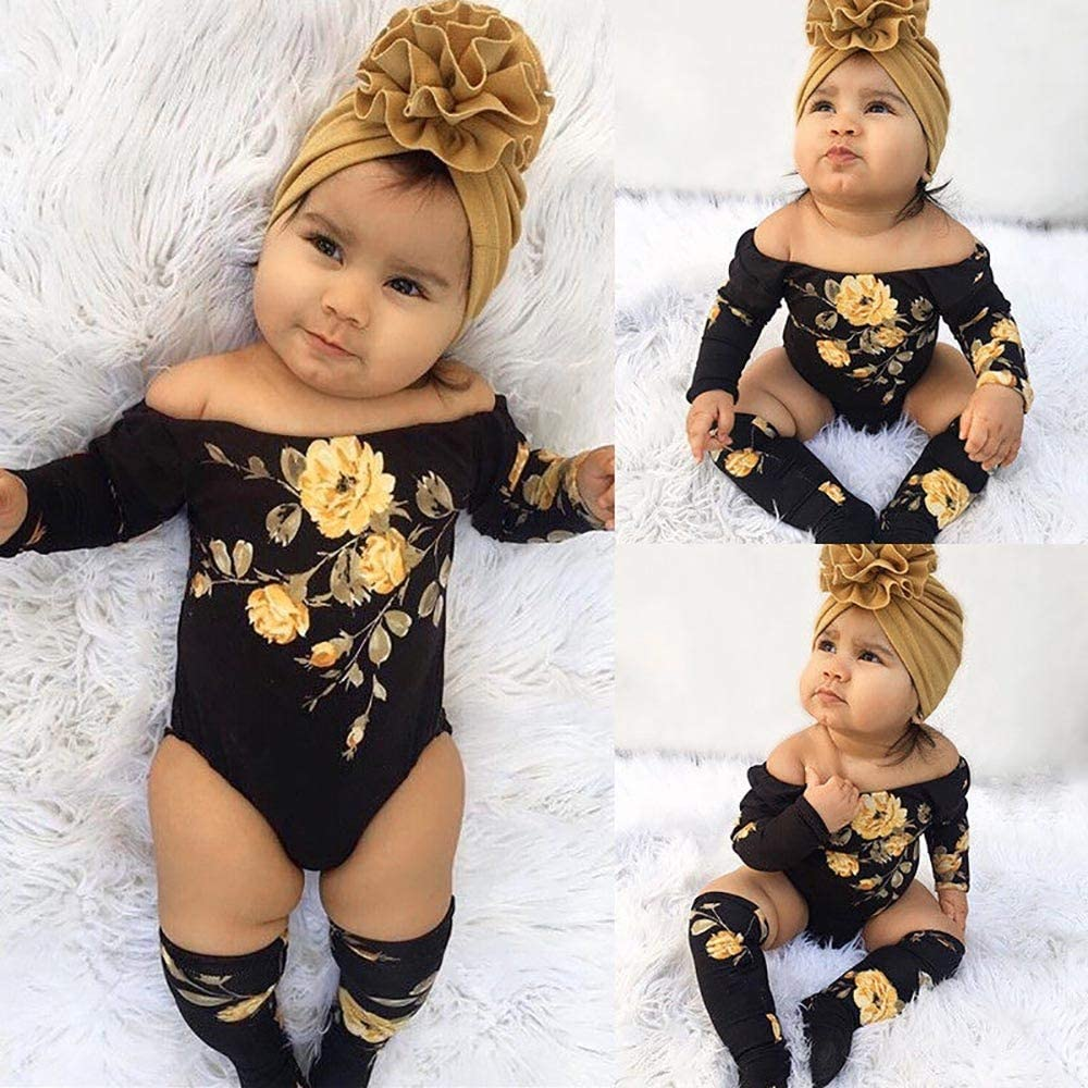 kaiCran Baby Girls Rompers Onesies Jumpsuits Off-Shoulder Clothing Sets with Leg Warmers