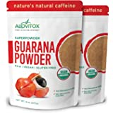Organic Guarana Seed Powder by Alovitox | Natural Caffeine from Brazil | Low Calorie Extract for Healthy Shakes, Smoothies, D