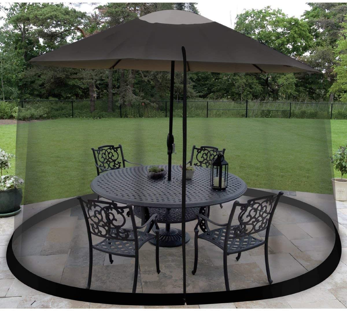 Outdoor Umbrella Table Screen Mesh Fun without Mosquitoes Bugs Enclosure 9 feet