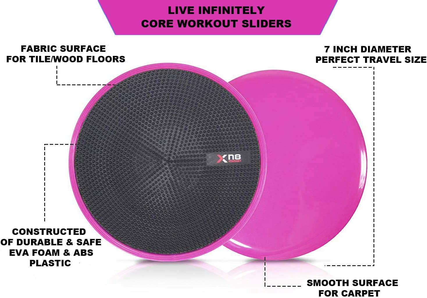 XN8 Pro Dotted-Core Slider Gliding Discs Double Sided Exercise Disc Trainer for Abdominal abs workout-Crossfit-Gym-Fitness-Yoga-Pilates-Trainer-on Carpet and Hard Floors