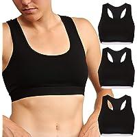 DANISH ENDURANCE Sujetador de Algodón Orgánico para Mujer, Pack de 1 y 3, Bralette Cómodo y Suave, Negro, Gris y Azul