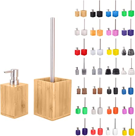 Premium Bathroom Set Great Range Soap Dispenser And Toilet Brush Beautiful Designs Surface Bamboo Set Amazon Co Uk Kitchen Home