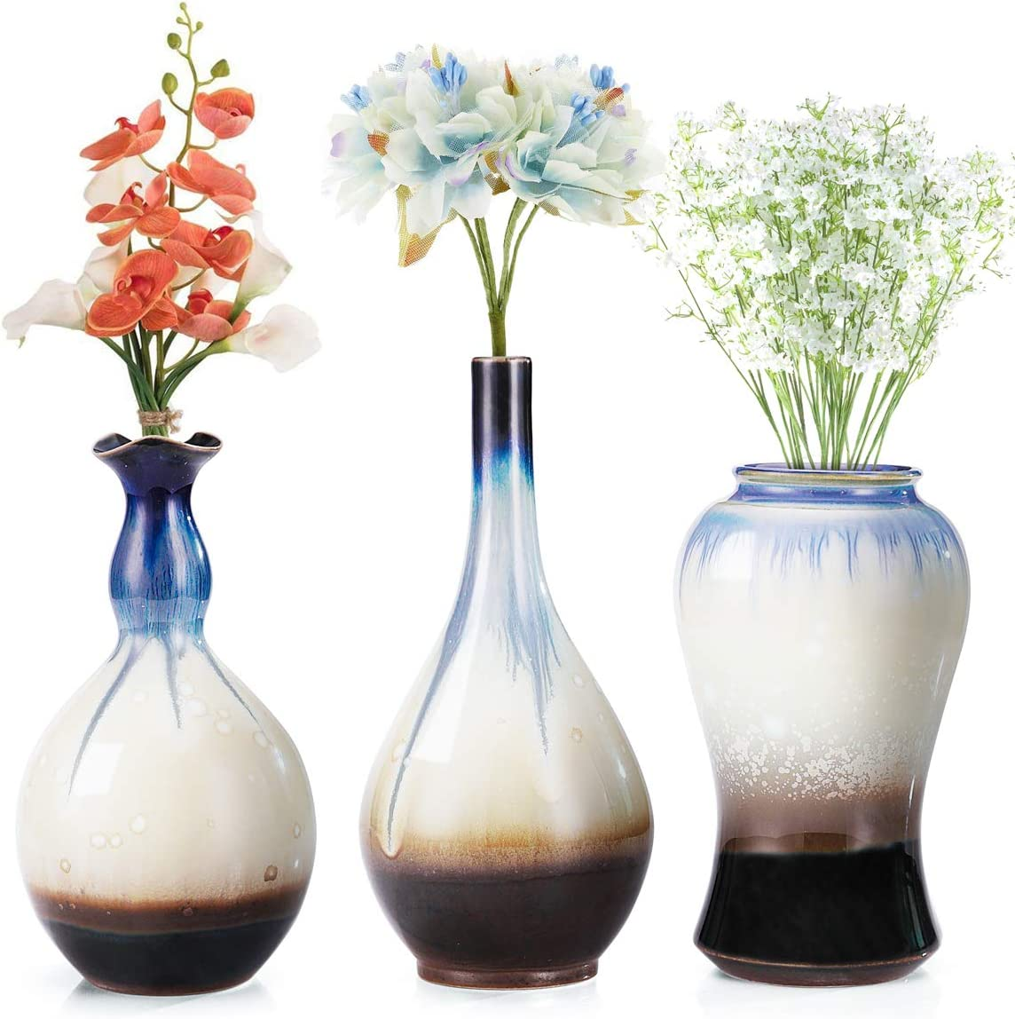 LH Ceramic Flower Vases Set of 3, Unique Glazed Design,Decorative Modern Floral Vase for Home Decor Living Room Centerpieces and Events