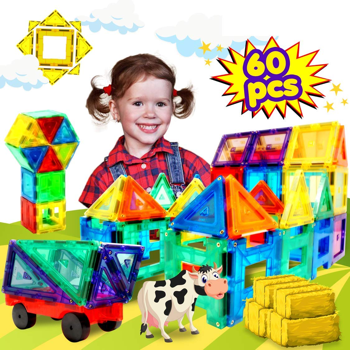 Magnetic Building Tiles Toys Set - Tiles Block Toy Kit for Kids - STEM Educational Construction Stacking Shapes - 60 Pieces by WhizBuilders (Image #9)