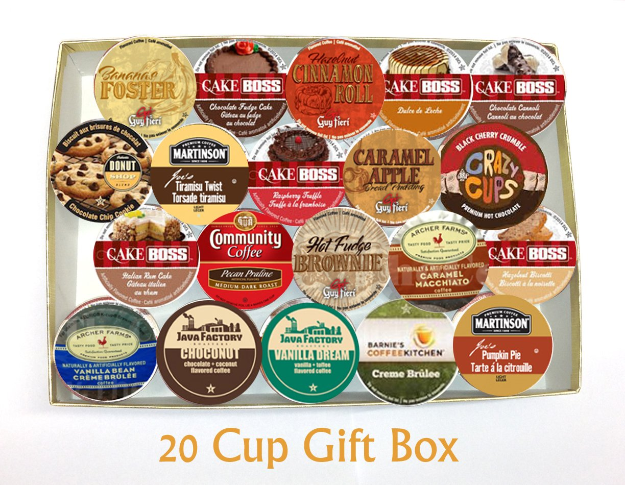 20 Cup DESSERT Inspired Flavored Coffee GIFT BOX Sampler! Delicious Dessert Inspired Flavors! Perfect GIFT!: Amazon.com: Grocery & Gourmet Food