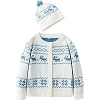 Conjunto de ropa de punto con diseño de copo de nieve para niños pequeños, con botones y sombreros.