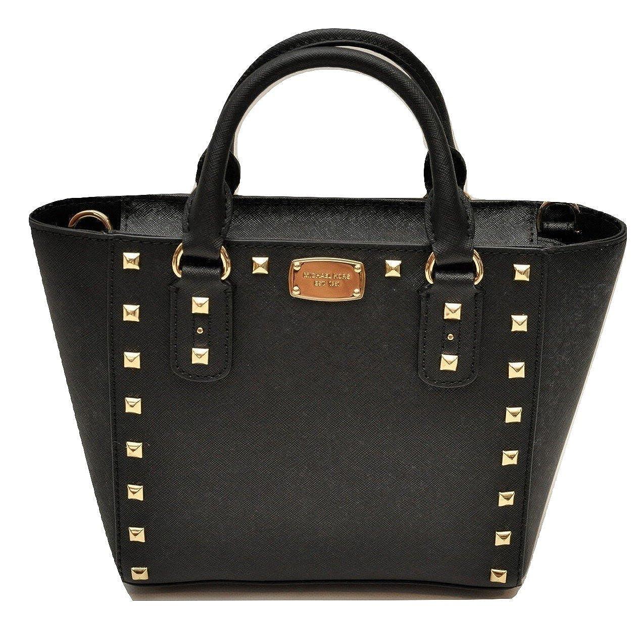 0179e5cc263a Michael Kors Sandrine Stud Small Crossbody Saffiano Leather Bag Handbag  (Black)  Handbags  Amazon.com