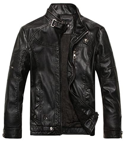 Review Chouyatou Men's Vintage Stand Collar Pu Leather Jacket