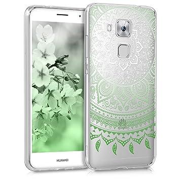 kwmobile Funda para Huawei Nova Plus - Carcasa de TPU para móvil y diseño de Sol hindú en Verde/Blanco/Transparente
