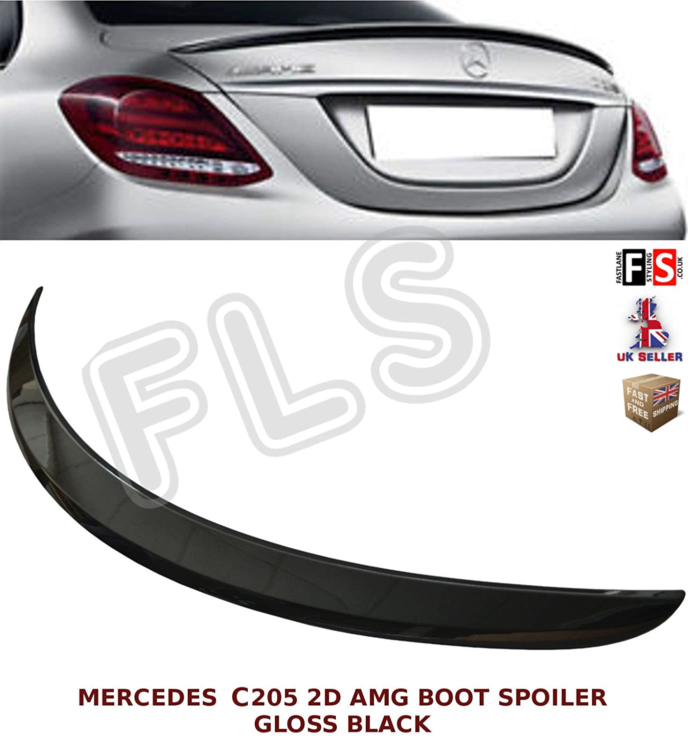 C CLASS C205 COUPE 2D AMG STYLE REAR TRUNK BOOT SPOILER GLOSS BLACK 2015+ FLS