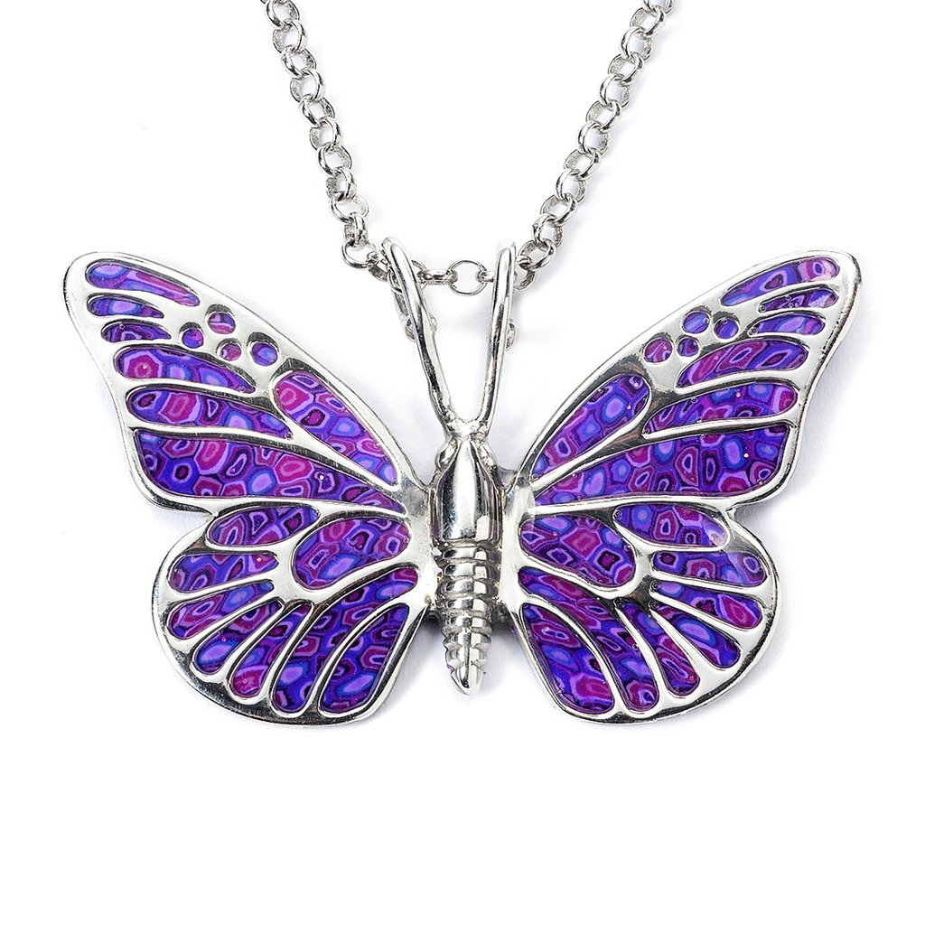 925 Sterling Silver Butterfly Necklace Pendant Purple Polymer Clay Handmade Millefiori Jewelry, 16.5'' by Adina Plastelina Handmade Jewelry (Image #1)