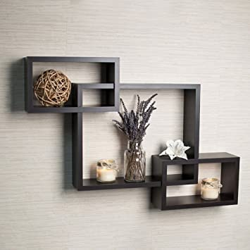 Amazon.com: Ogori Floating Shelves Intersecting wall box shelf cubes shelf  Boxes Wall Shelf Shelf Brackets, Black: Home & Kitchen
