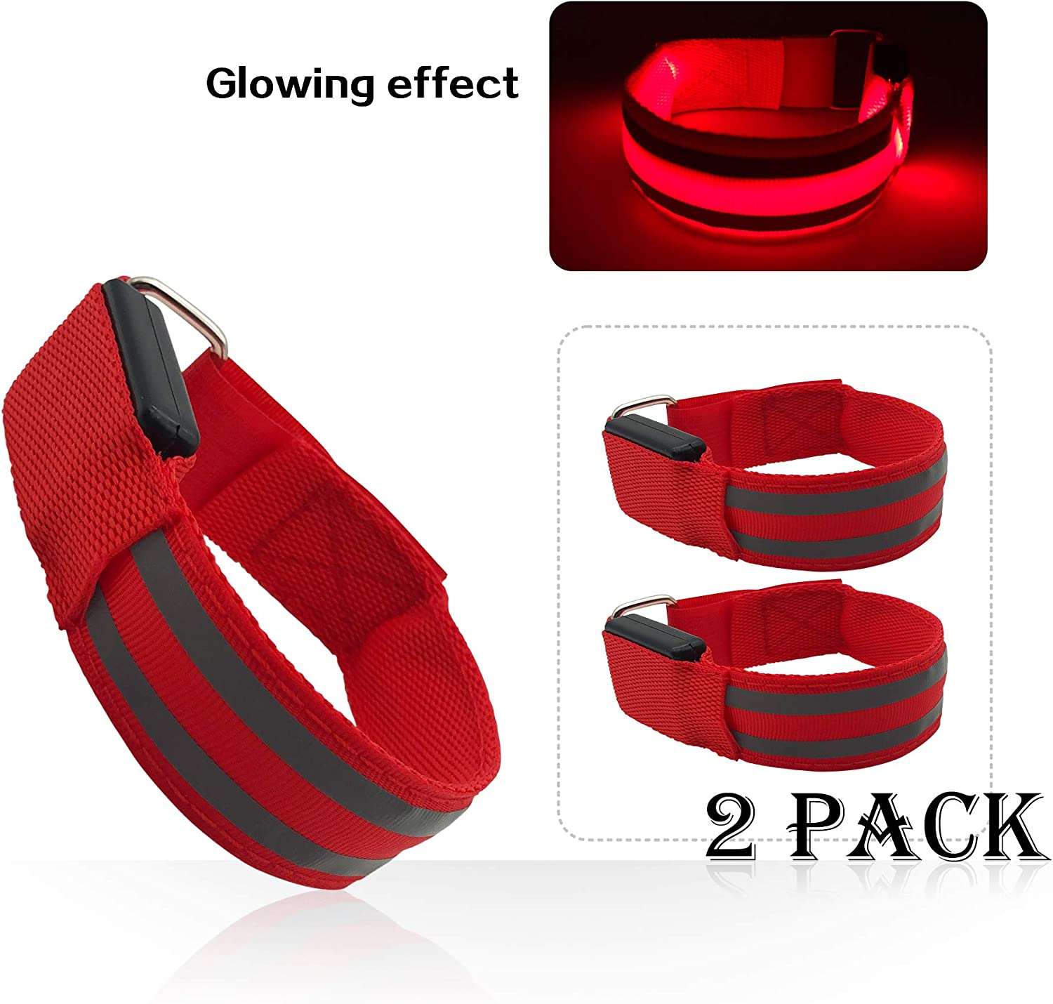 2 Pack LED Armband USB Chargeable for Running Cycling Exercising Glow Light up in Dark Night Running Gear Safety Reflective Sports Event Wristbands
