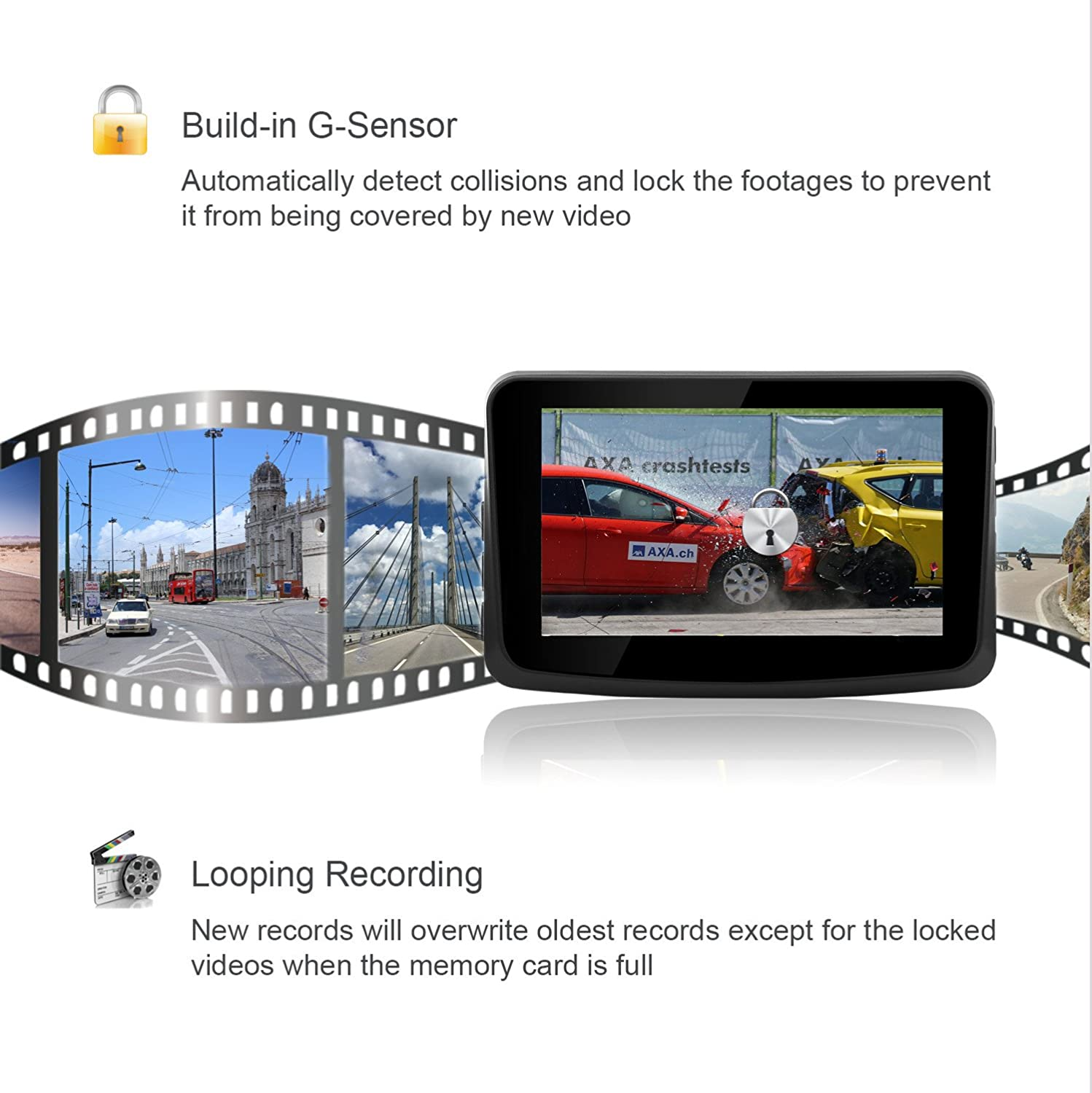 Car Dash Cam Driving Recorder Full HD 1080P Video 3 IPS LCD Screen G-Sensor and WDR for Car Truck 3 IPS LCD Screen Raynic Electronics Dash--Cam 170/° Wide Angle Lens Raynic Camcorder Dashboard Camera with Rotatable Lens Loop Recording