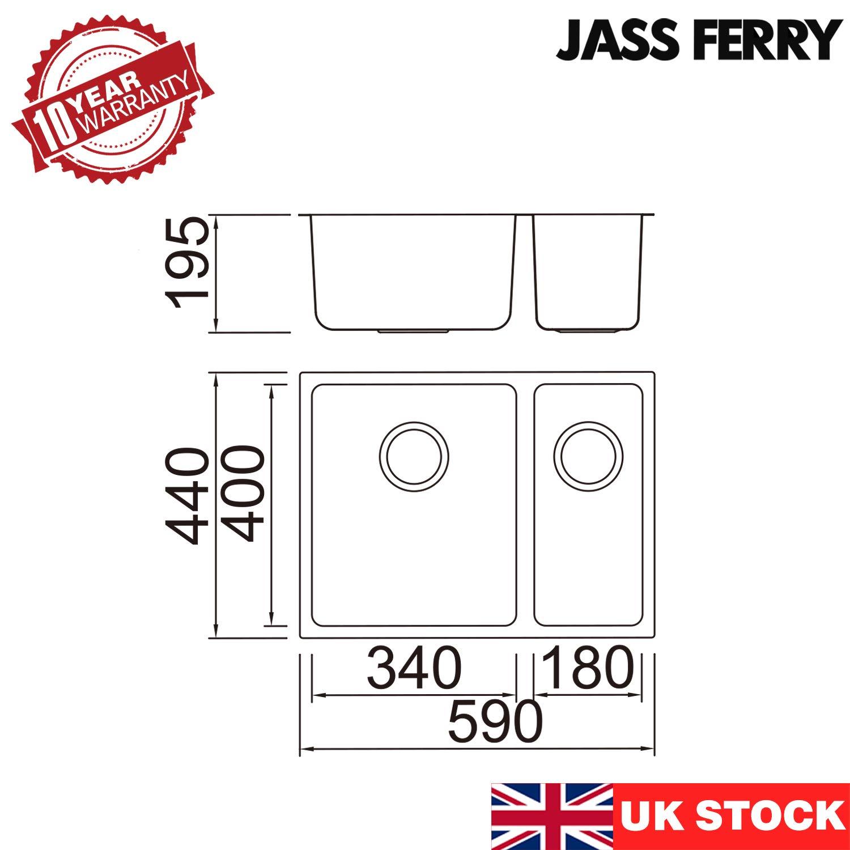 acero inoxidable, 1,5, medio cuenco, sin agujero, 590 x 440 mm Fregadero de cocina cuadrado JASS FERRY