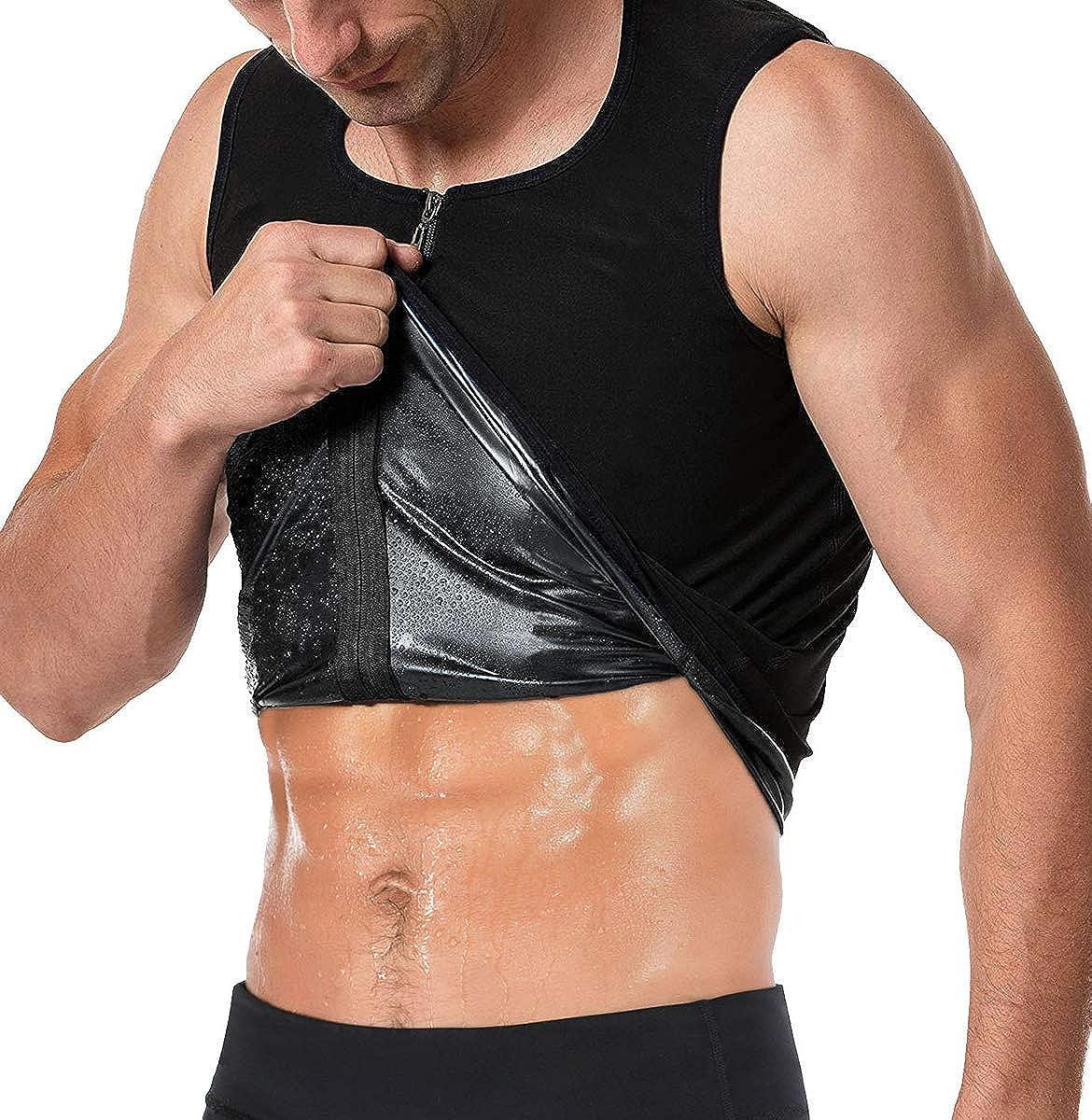FLORATA Men Waist Trainer Vest Hot Sweat Sauna Suit Corset Body Shaper Zipper Tank Top Workout Shirt : Clothing