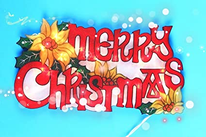 christmas window decoration merry christmas sign with 20 lights double sided with glitter