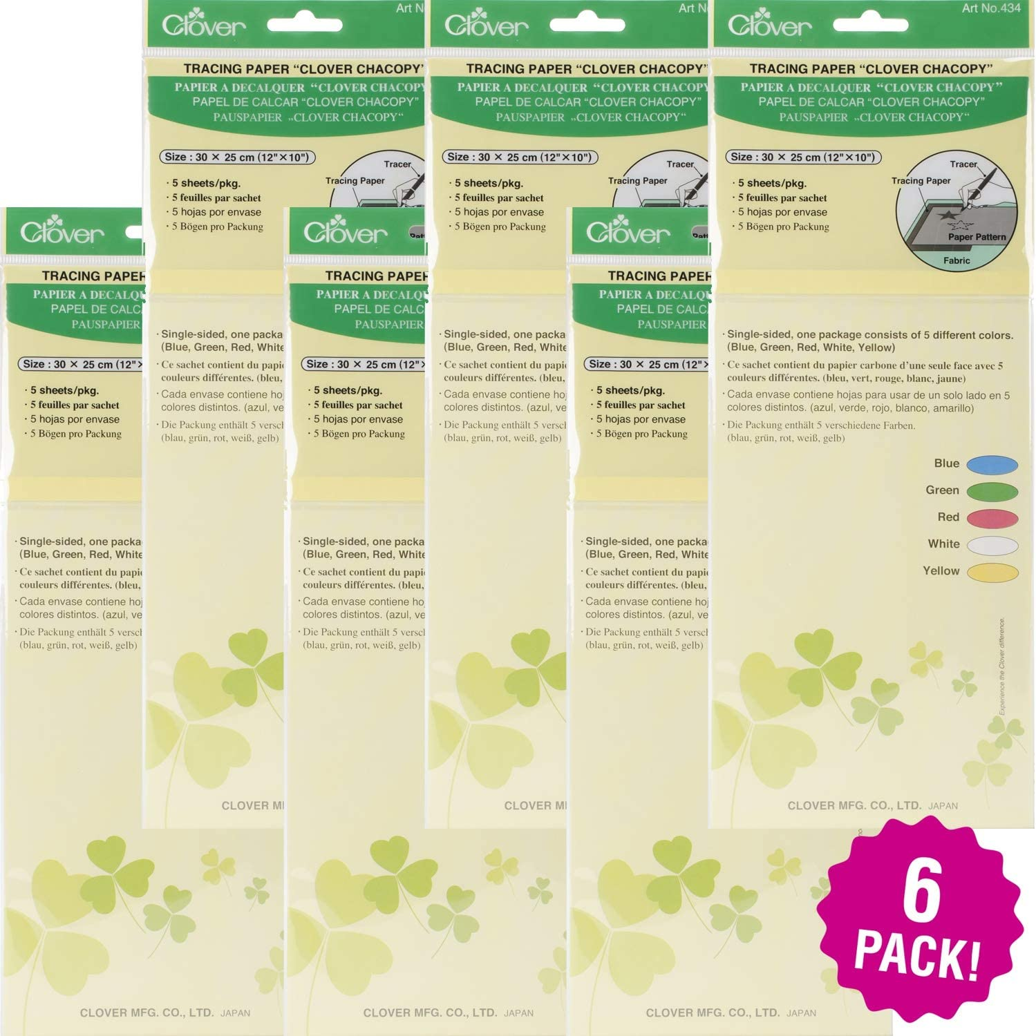 6//Pk-12X10 ODDITIES Clover Chacopy Tracing Paper 5Pc