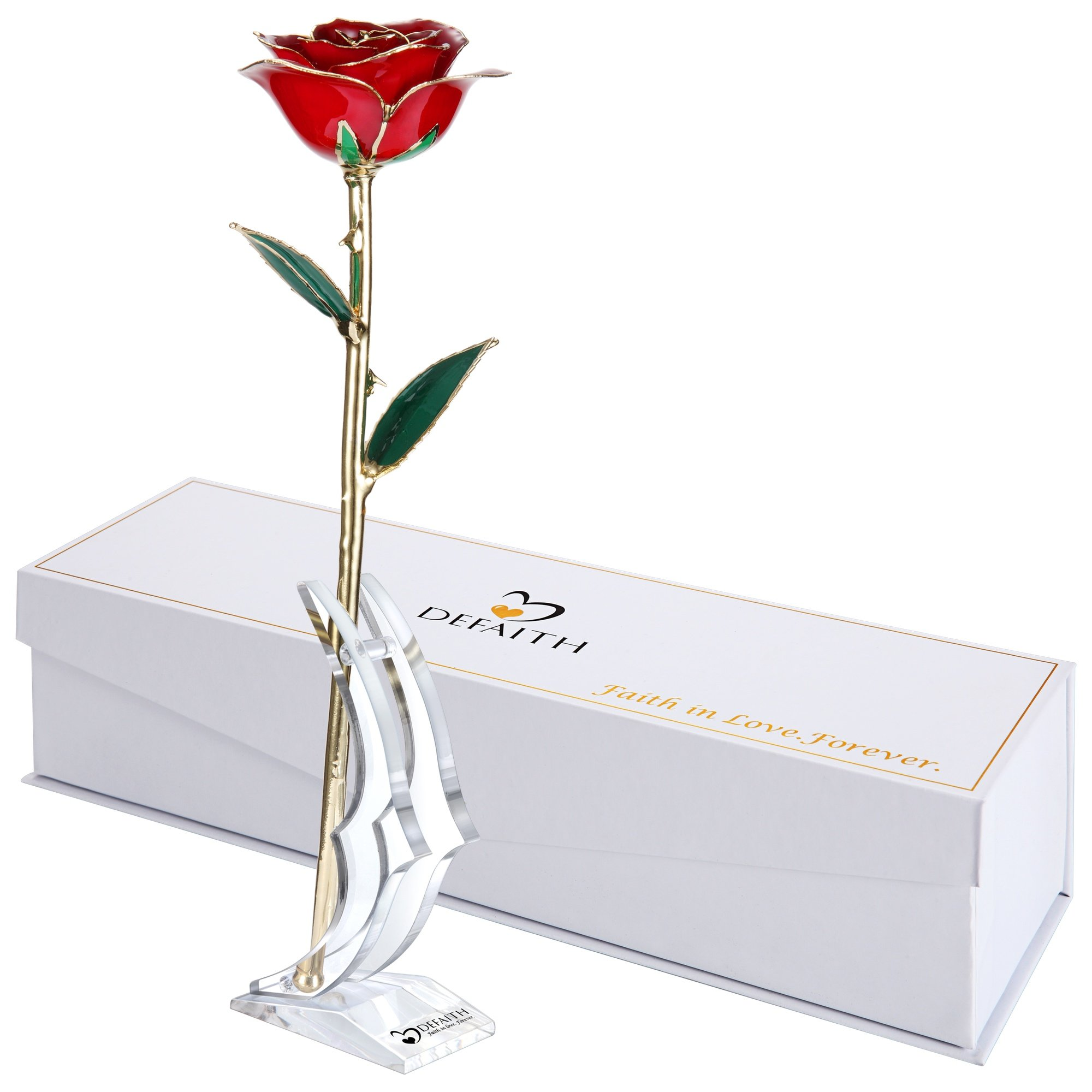 DeFaith 24K Gold Rose Made from Real Fresh Long Stem Rose Flower, Great for Her, Red with Stand