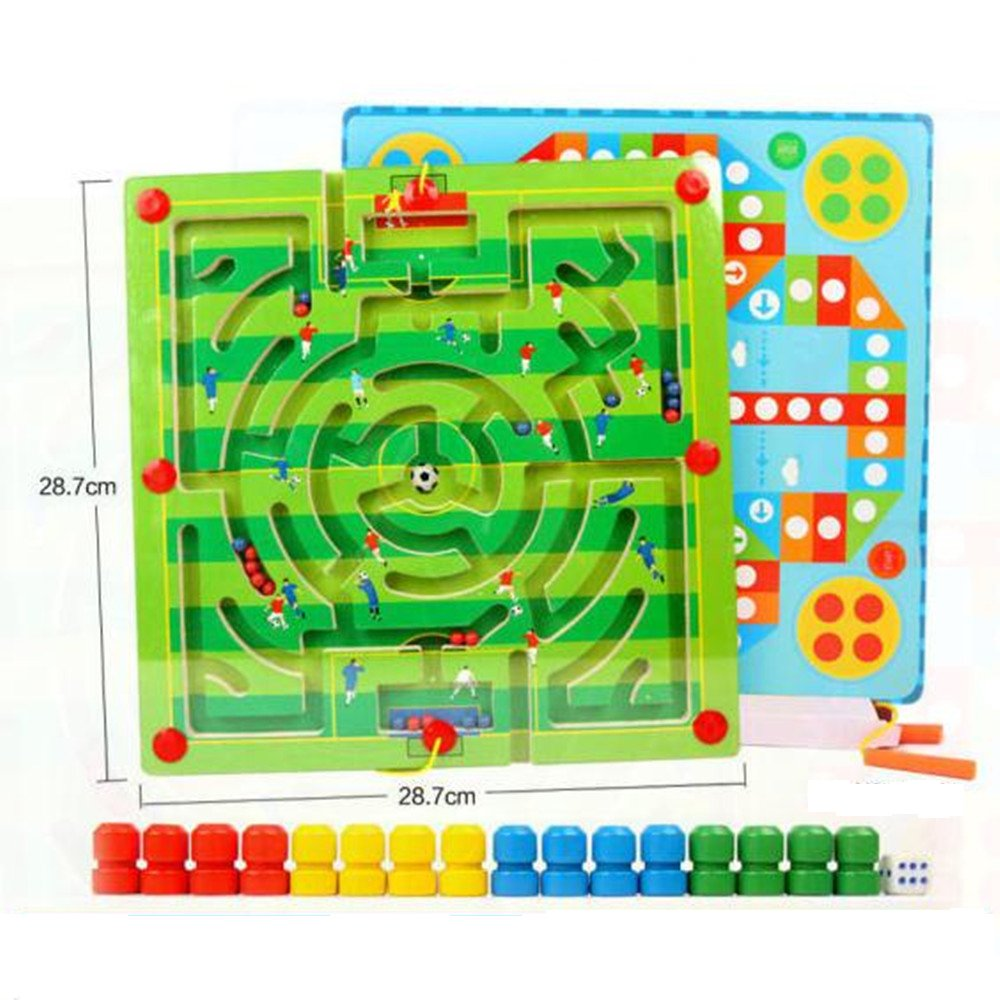 GoodPlay Magnetic Maze Puzzle Game Toys,Wooden Bead Maze 2- in-1 Double Sided Wooden Marbles Magnet Pen/Wand Driving Labyrinth and Flying Chess for Kid Children - Football Field