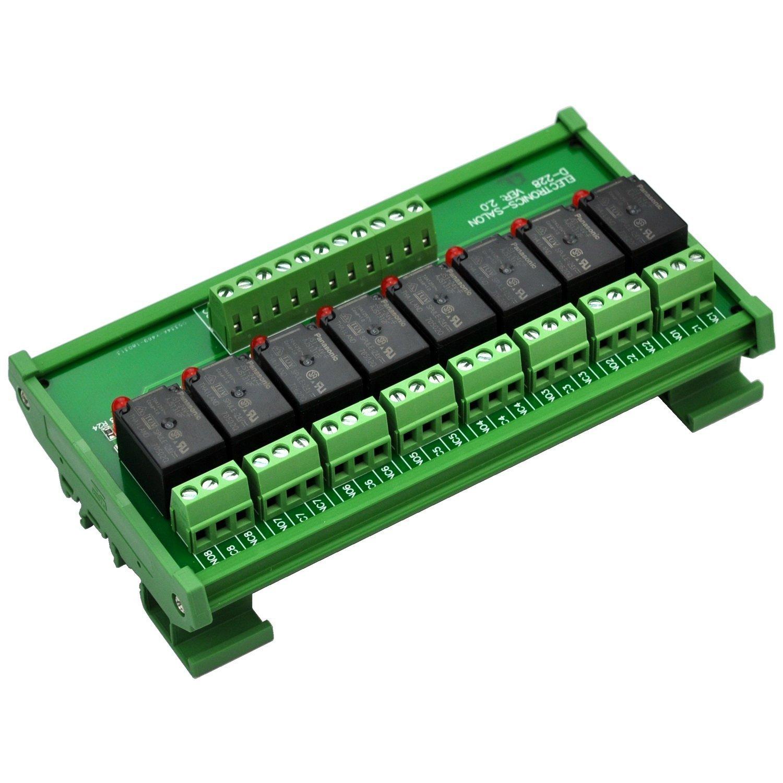 ELECTRONICS-SALON DIN montaje en riel de módulo de interfaz de relé 8 SPDT, OMRON 10 A relé, 24 V bobina.