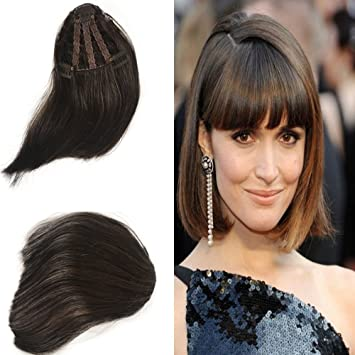 Amazon Com Clip In Bangs Hair Extensions Dark Brown Hand Tied