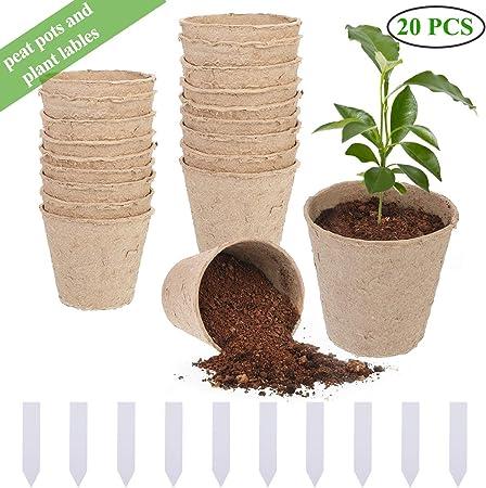 20Pcs Macetas de Fibra, Macetas para Plantas Biodegradable ...