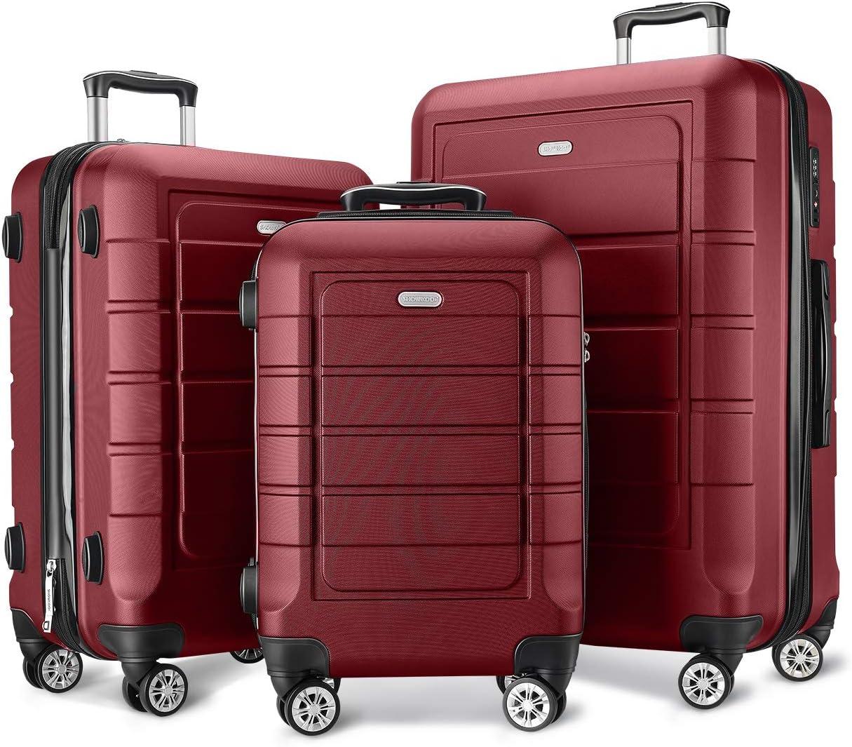 SHOWKOO Luggage Sets Expandable PC+ABS Durable Suitcase Double Wheels TSA Lock 3pcs Red Wine
