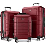 SHOWKOO Luggage Sets Expandable PC+ABS Durable Suitcase Double Wheels TSA Lock Red Wine