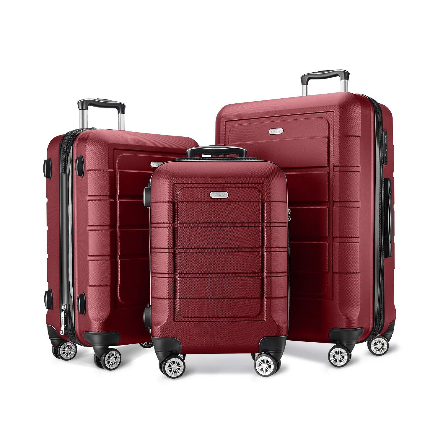 SHOWKOO Luggage Sets Expandable PC+ABS Durable Suitcase Double Wheels TSA Lock Red Wine by Showkoo