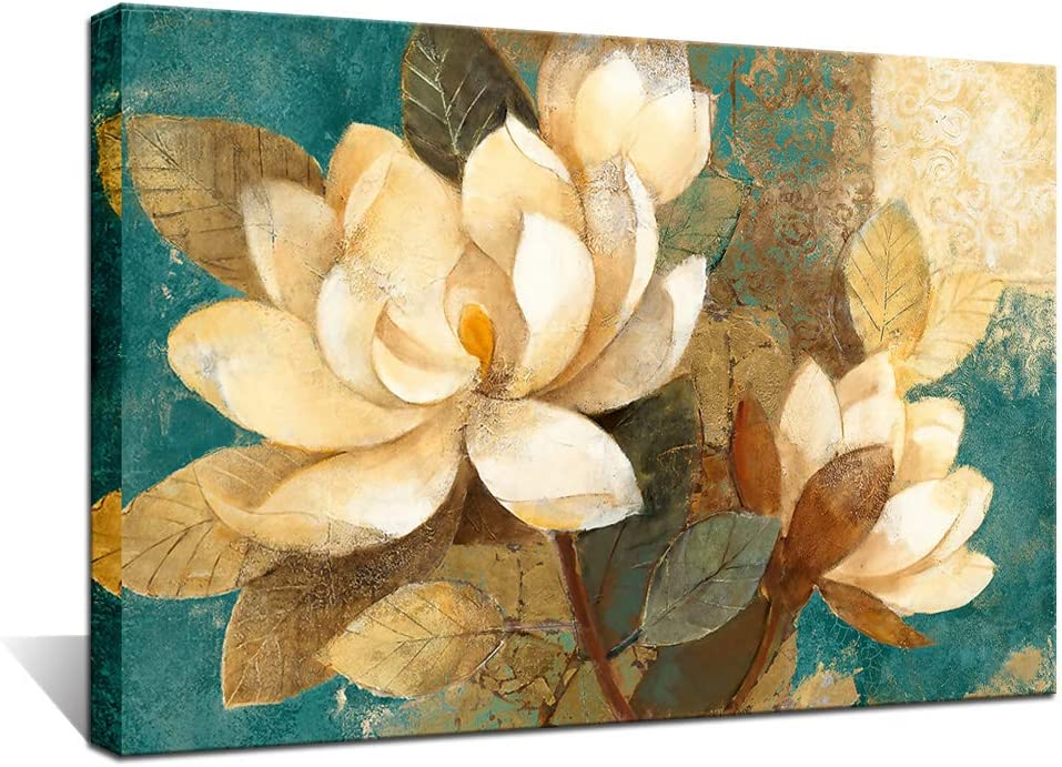 Biuteawal Blossom Canvas Wall Art Vintage Flower Picture Painting Print for Bathroom Bedroom Living Room Decor Teal and Brown Canvas Artwork Framed Ready to Hang