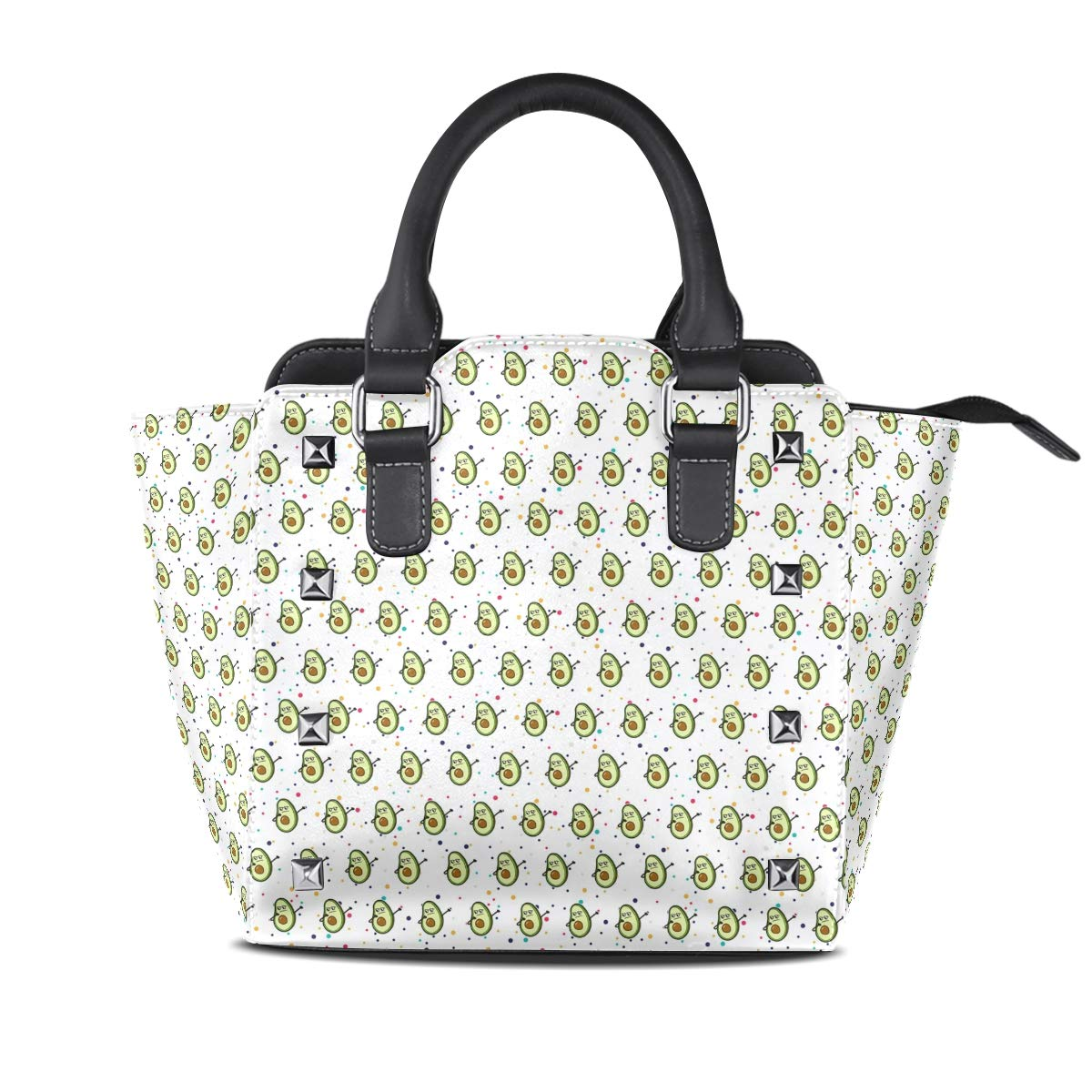 Design5 Handbag Bees And Flowers Genuine Leather Tote Rivet Bag Shoulder Strap Top Handle Women