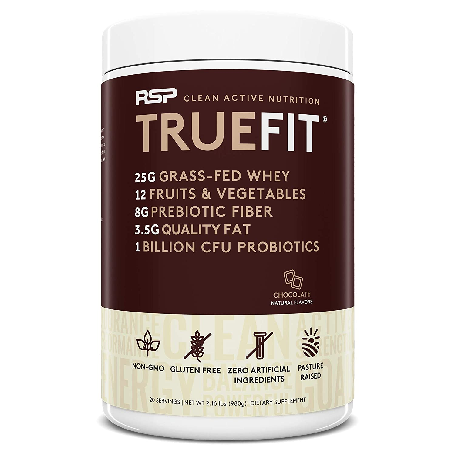 RSP TrueFit – Grass Fed Lean Meal Replacement Protein Shake, All Natural Whey Protein Powder with Fiber Probiotics, Non-GMO, Gluten-Free No Artificial Sweeteners, 2.0 LB Choc Packaging May Vary