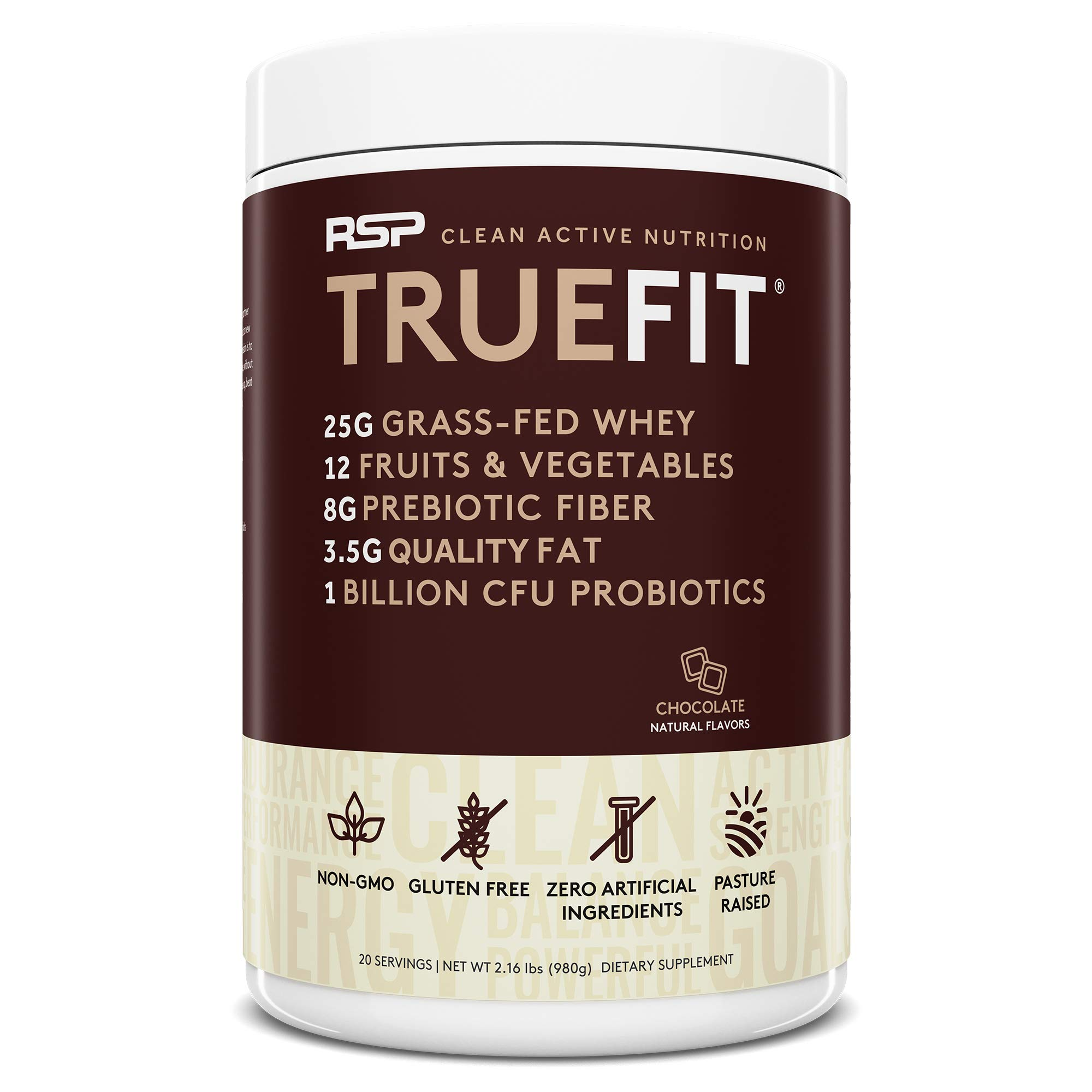 RSP TrueFit - Grass Fed Lean Meal Replacement Protein Shake, All Natural Whey Protein Powder with Fiber & Probiotics, Non-GMO, Gluten-Free & No Artificial Sweeteners, 2.0 LB Choc (Packaging May Vary) by RSP Nutrition