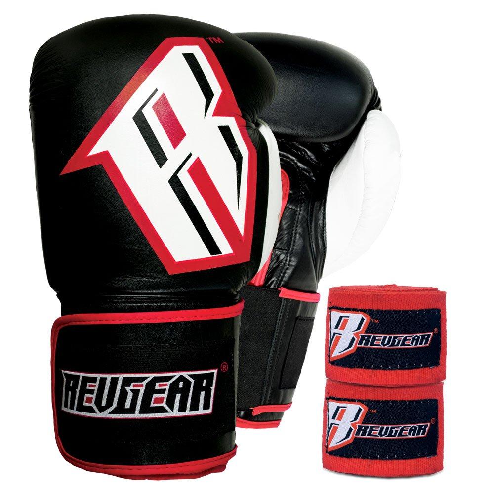 Revgear S3 Sentinel Boxing Gloves and Elastic Hand Wraps Bundle Revgear Sports RGK139005 BK14 HWR