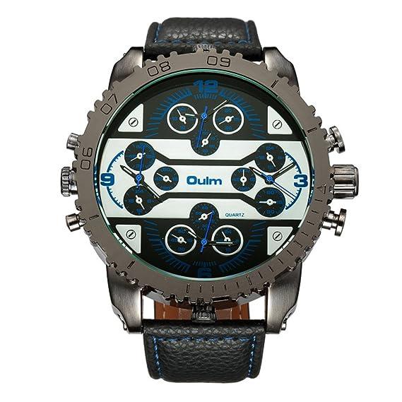 Hombre Relojes de cuarzo, Relojes militares Reloj deportivo Correa de cuero Cuatro franjas horarias Personalizar