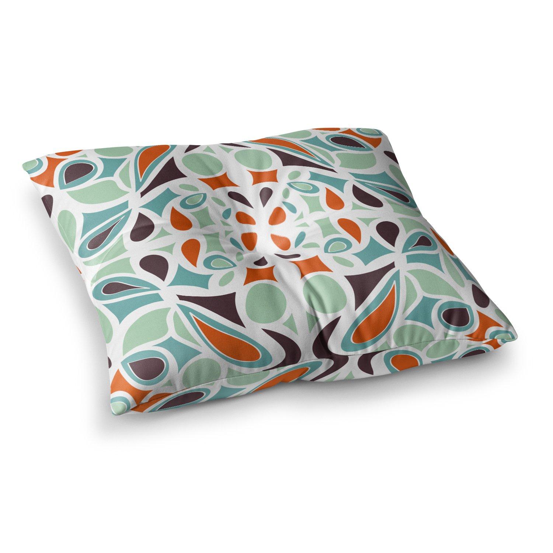 26 x 26 Square Floor Pillow Kess InHouse Miranda MOL Orange Purple Stained Glass