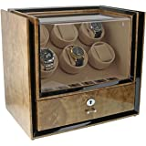 Six Watch Winder with Storage in Light Burl Wood - Magnum Collection by Aevitas