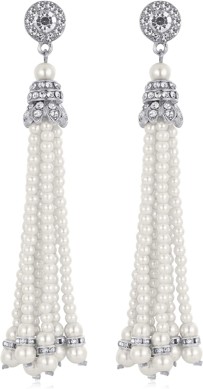 BABEYOND 1920s Flapper Imitation Pearl Earrings 20s Great Gatsby Pearl Tassel Earrings Vintage 20s Flapper Gatsby Accessories