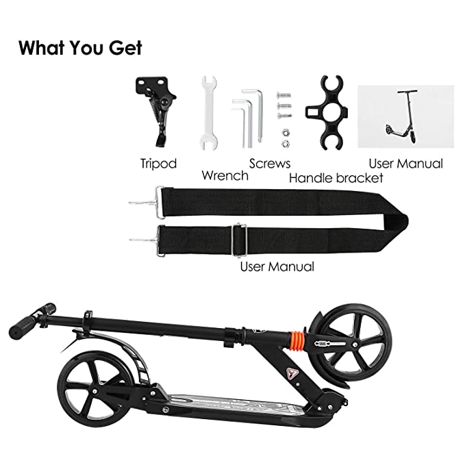 Kids/Adult Scooter with 3 Seconds Easy-Folding System 200mm Big Wheels Commuter Scooter, 220lbs Adjustable City Scooter Age 8 Up