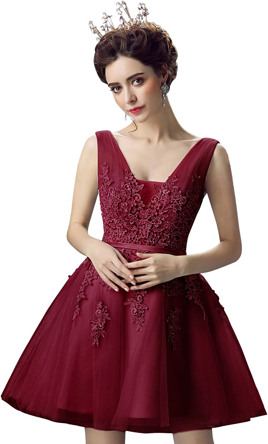 Amazon Com Babyonlinedress Tulle Lace Applique Junior S Formal Cocktail Homecoming Dresses Clothing