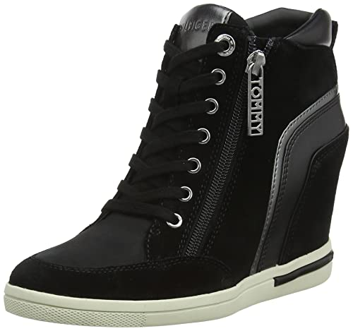 242328a34a0e9 Tommy Hilfiger Women s Mid Sneaker Wedge Low-Top (Black 990)
