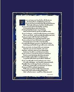 Ink Monkey Press If by Rudyard Kipling - If Poem Print 8x10 Dark Blue Mat