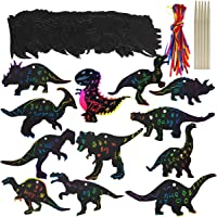 Aptoper Scratch Paper ,36 Set Dinosaur Birthday Party Game Supplies Magic Color Scratch Paper Rainbow Dinosaur Ornaments Craft Kits Party Favor for Kids Boys Girls Classroom Craft