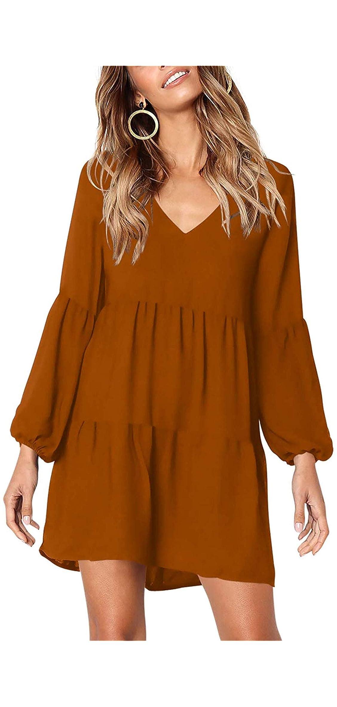 Women's Short Sleeve Tunic Dress V Neck Ruffle Loose