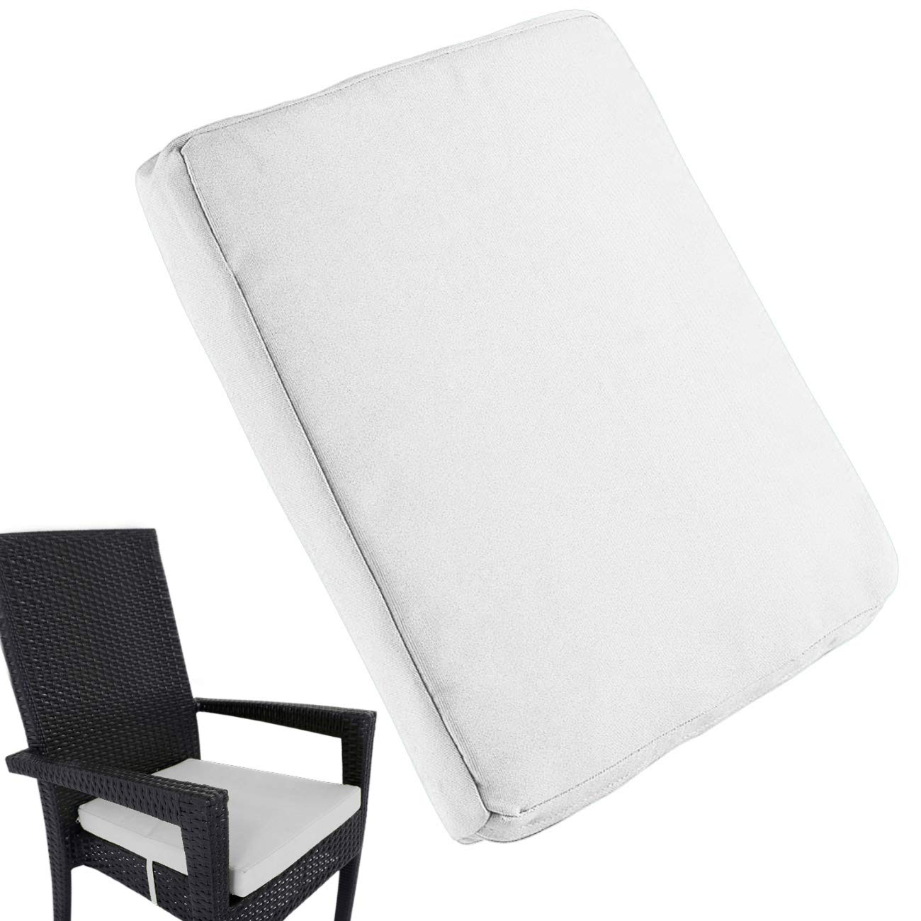 Uheng 4 Pack Patio Outdoor Chair Cushions with Ties, Seat Pads Mat, Waterproof Removable Cover, Comfort Memory Foam Nonslip for Garden Deck Picnic Beach Pool -18'' X 18''(White)