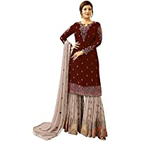 HA FASHION superx Womens Style Embroidered Work Stones Sharara Plazzo Salwar Suit With Dupatta(fiona_Free_Size)