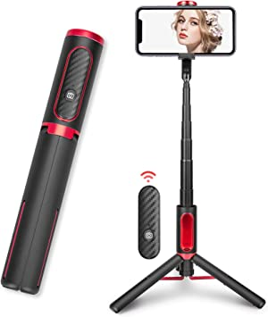 Selfie Stick, LP Portable Stick with Tripod Stand, Aluminum-Alloy Mini Extendable Adjustable Stick with Detachable Bluetooth Wireless Remote, Compatible with Android and Apple Phones