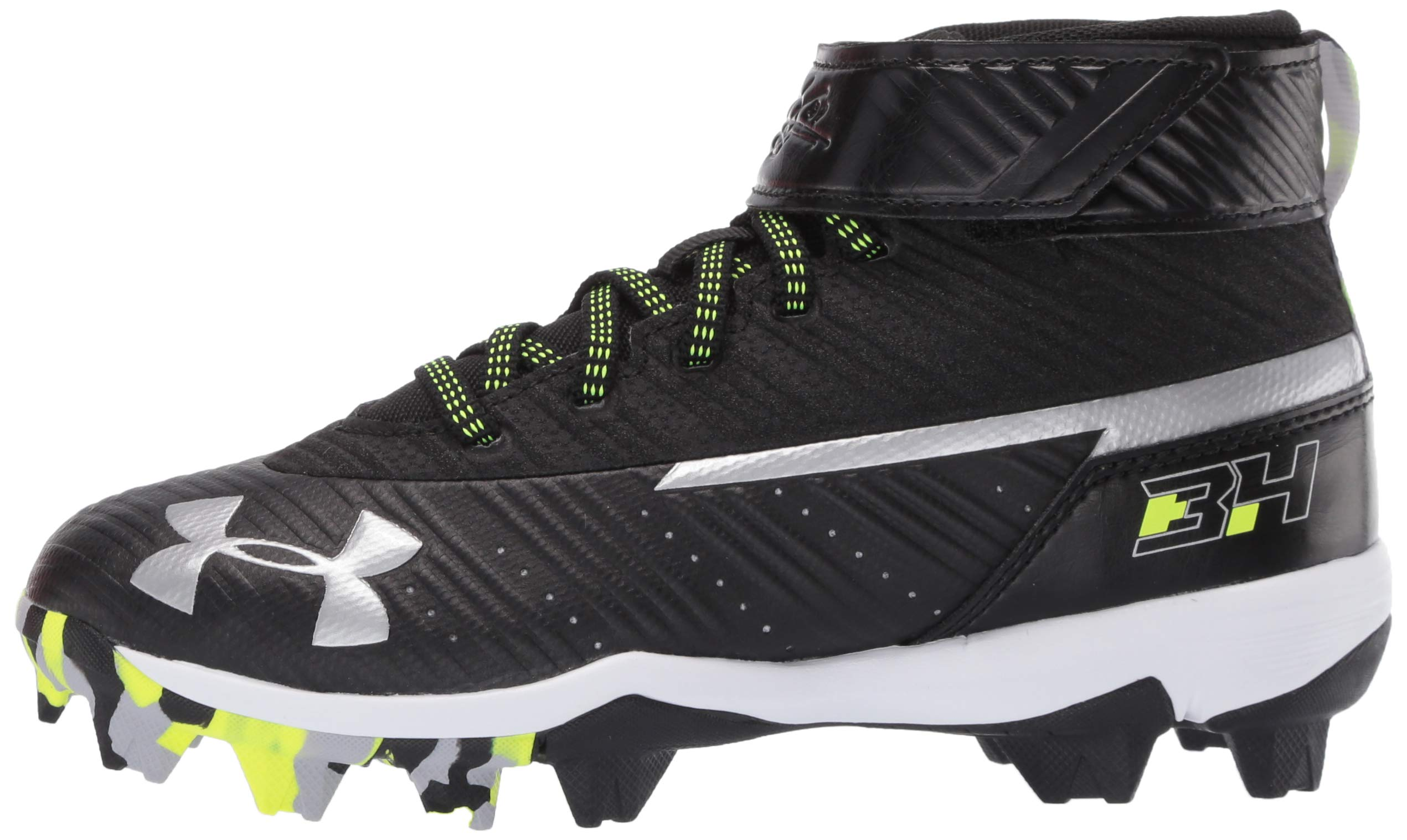 Under Armour Boys' Harper 3 Mid Jr. RM Baseball Shoe Black (001)/White 1.5 by Under Armour (Image #5)