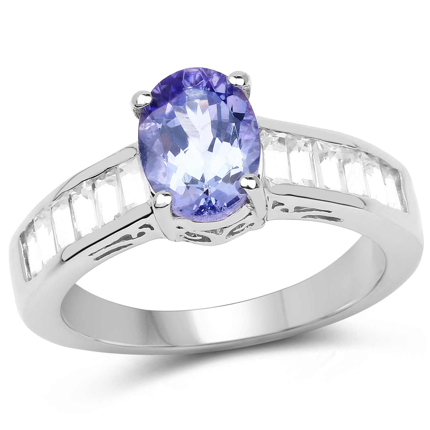 925 Sterling Silver Ring 2.13 Ct Genuine Tanzanite & White Topaz Promise Band